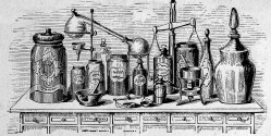 L0006844 An apothecary's apparatus. Wood engraving, 1861. Credit: Wellcome Library, London. Wellcome Images images@wellcome.ac.uk http://wellcomeimages.org An apothecary's apparatus. Wood engraving, 1861. 1861 Published: 1861 Copyrighted work available under Creative Commons Attribution only licence CC BY 4.0 http://creativecommons.org/licenses/by/4.0/